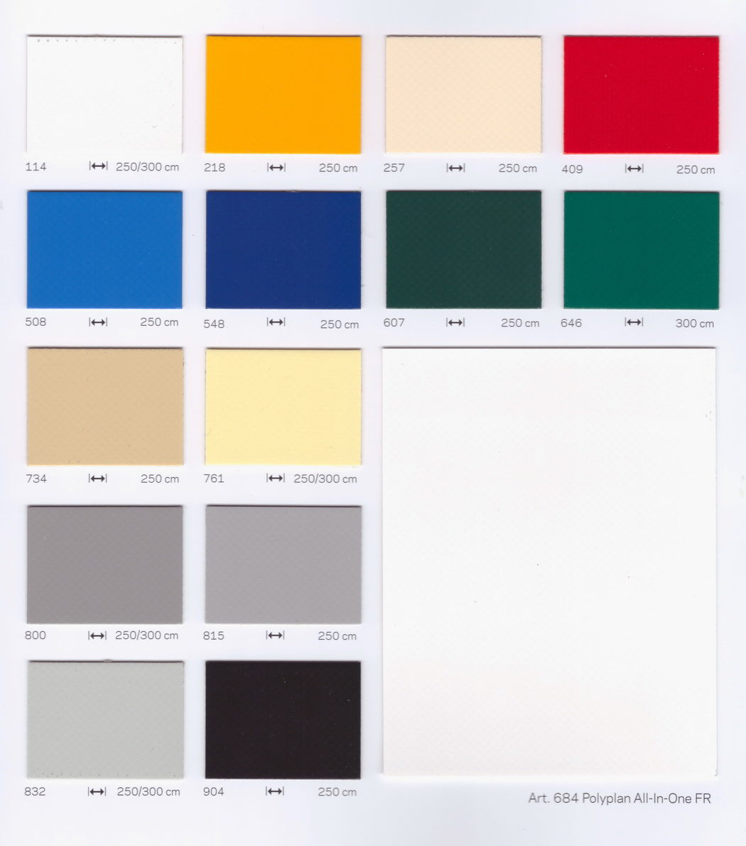 Nehezen éghető ponyva színek